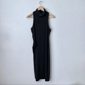 New Black Asymmetrical Sleeveless Turtleneck Tank